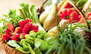 A basket of spring vegetables