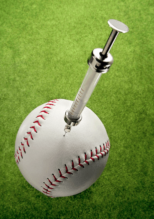 A baseball on baseball turf with a steroid injection