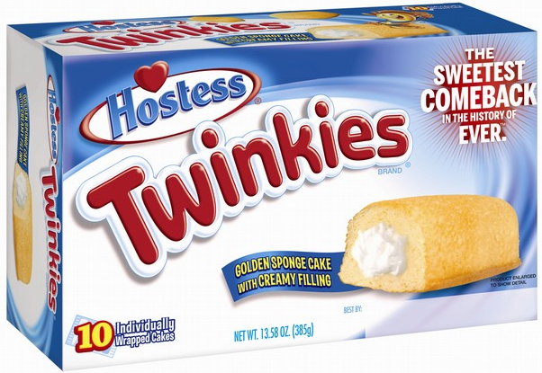 A box of Twinkies with Sweetest Comeback labeling