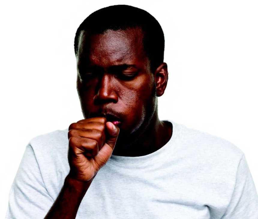 black man coughing