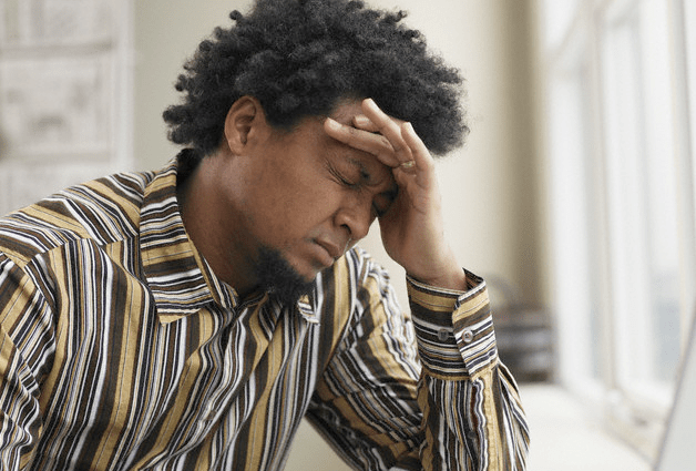 A man with a tension headache