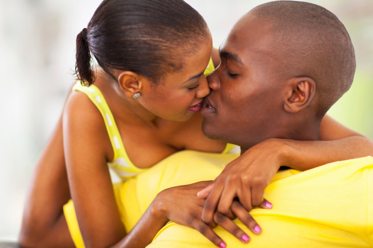 african american couple kissing