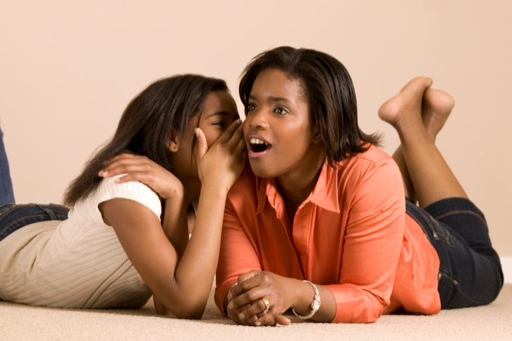 African american mother daughter talking