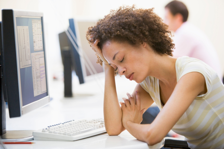 tired woman working