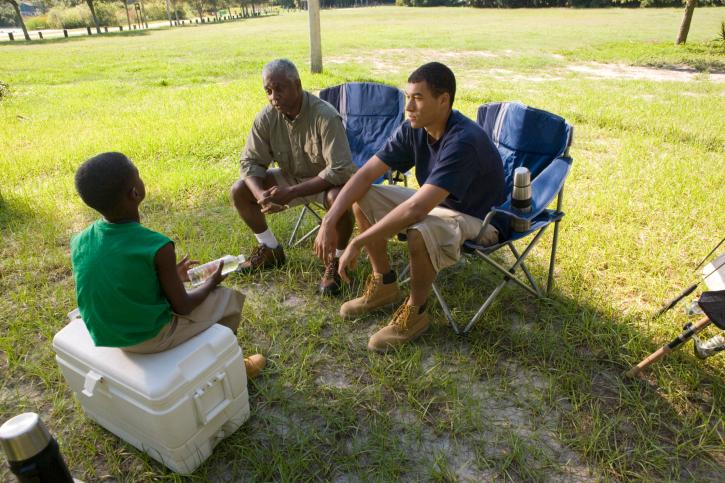 men camping