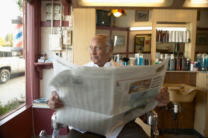 senior man in barbershop