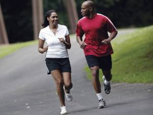 black couple running
