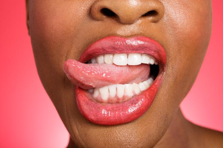 woman tongue out