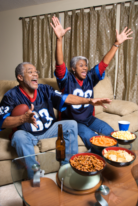 couple watching football