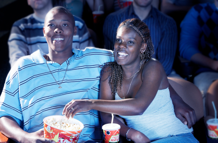 couple snacking movie theater