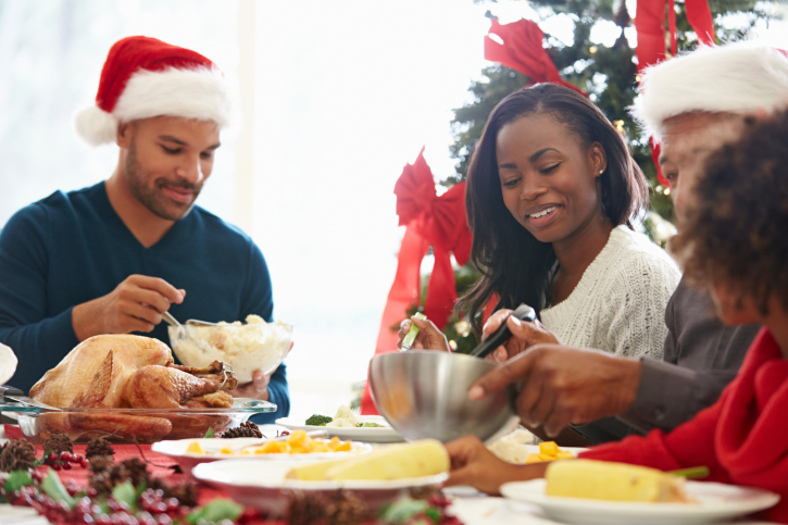 family eating at Christmas