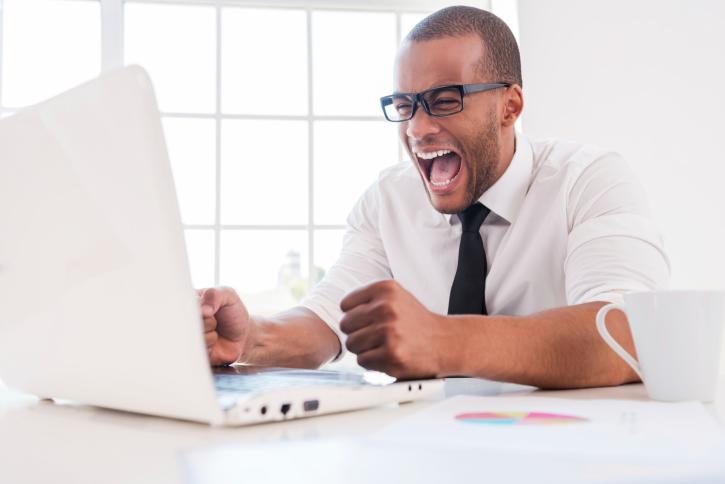 black male stressed at work