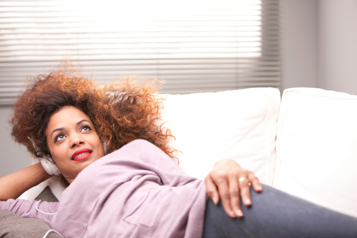 woman couch colored hair