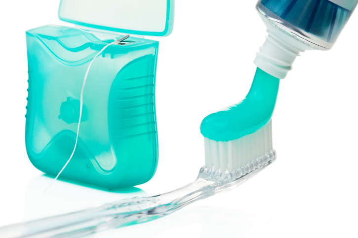floss toothbrush and toothpaste