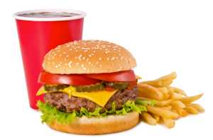 burger, fries and a drink