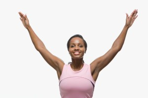 african american woman with both arms in the air