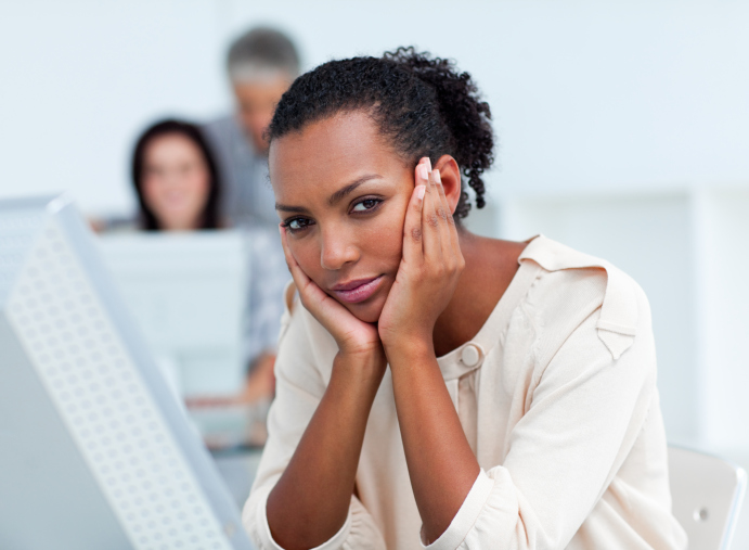 woman looking upset at work