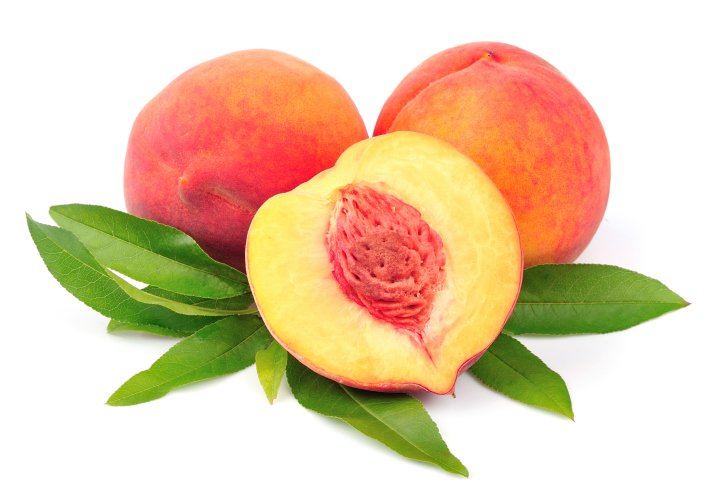 cut open peach