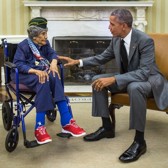 President Barack Obama greets the nation's oldest living veteran, Emma Didlake, in the Oval Office, July 17, 2015. (Official White House Photo by Pete Souza)