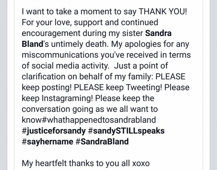 Sandra Bland family update official