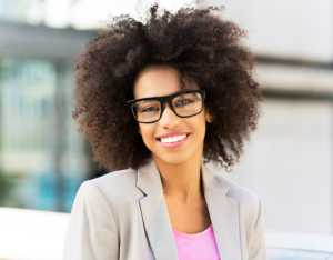 young businesswoman with long natural hair