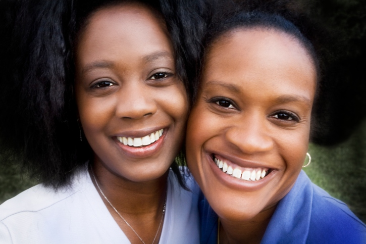 two African American women friends smiling