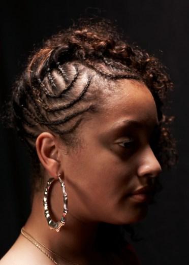 Teenage girl side profile portrait