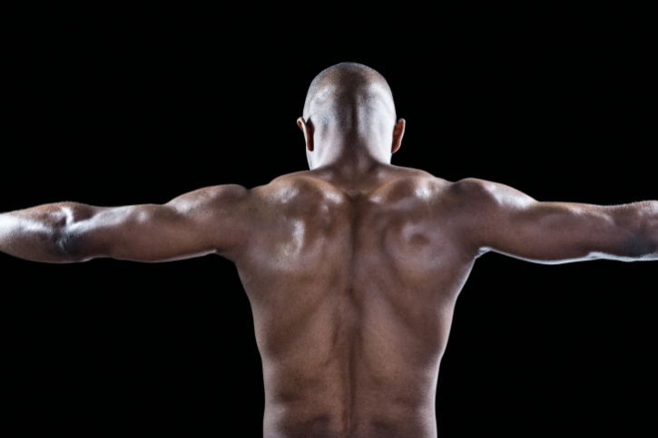 back of muscular african american man