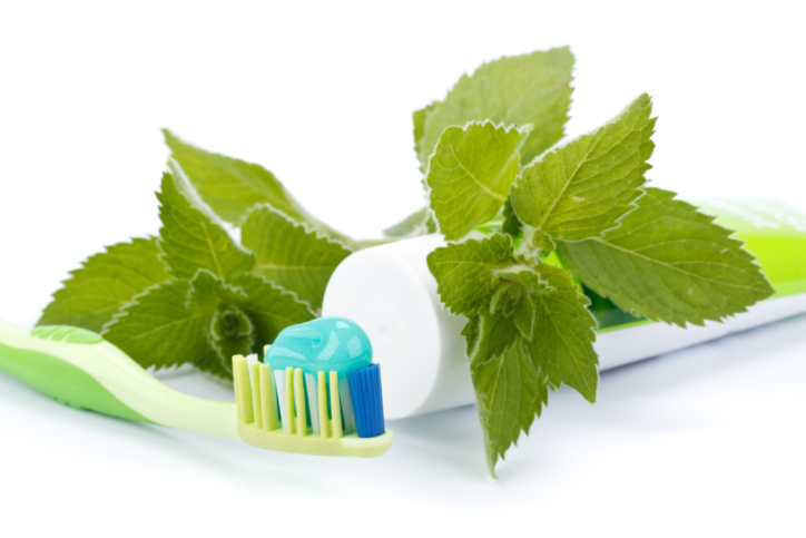 mint toothpaste with toothbrush