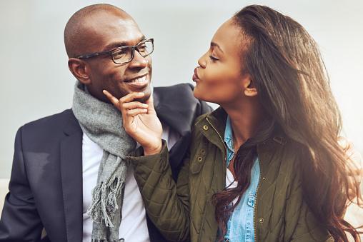 African American couple flirting