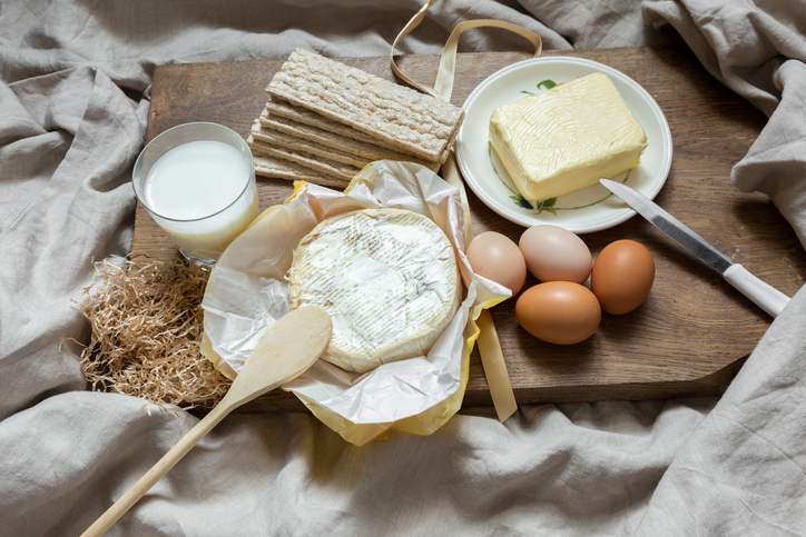 Dairy foods eggs, milk, butter, cheese