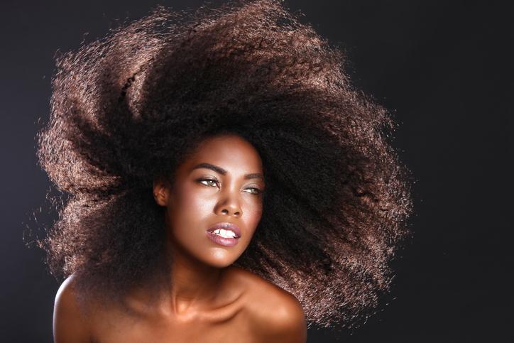 African American woman big natural hair