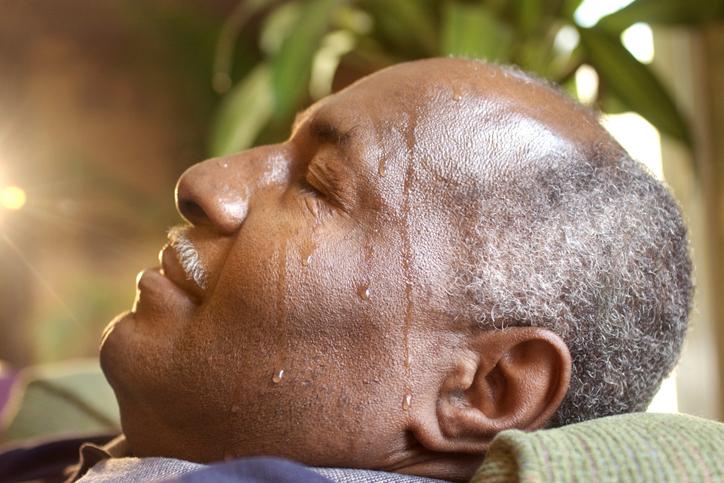 African American man sweating