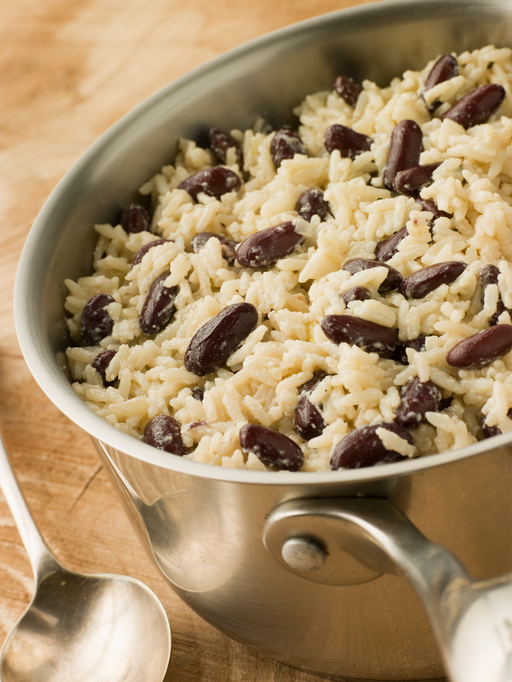 Rice and Beans in a Saucepan