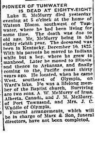Luke McMurry obituary 1913-05-01