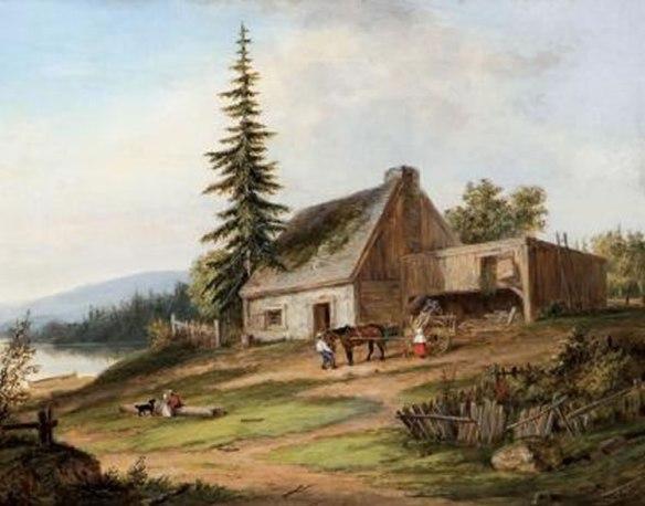 Cornelius Krieghoff, 1854, oil painting, A Pioneer Homestead