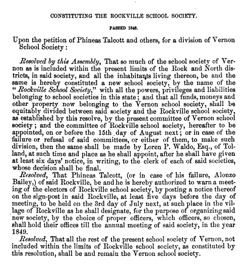 Constituting The Rockville School Society 1848
