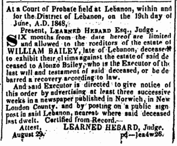 William Bailey probate notice 1848
