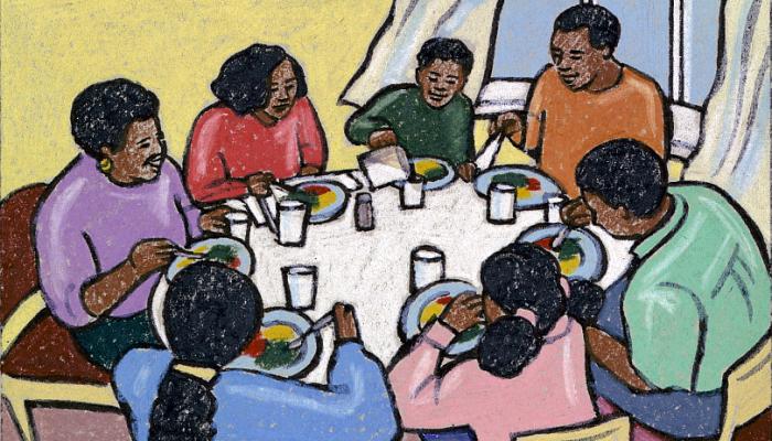 Illustration of family at dinner time