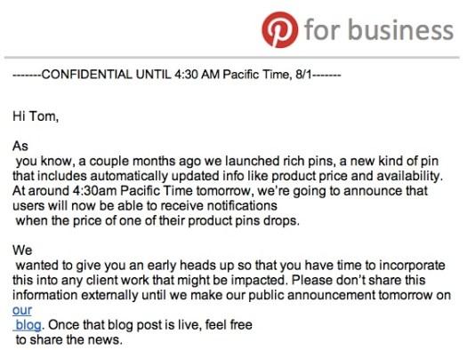Pinterest Announcement