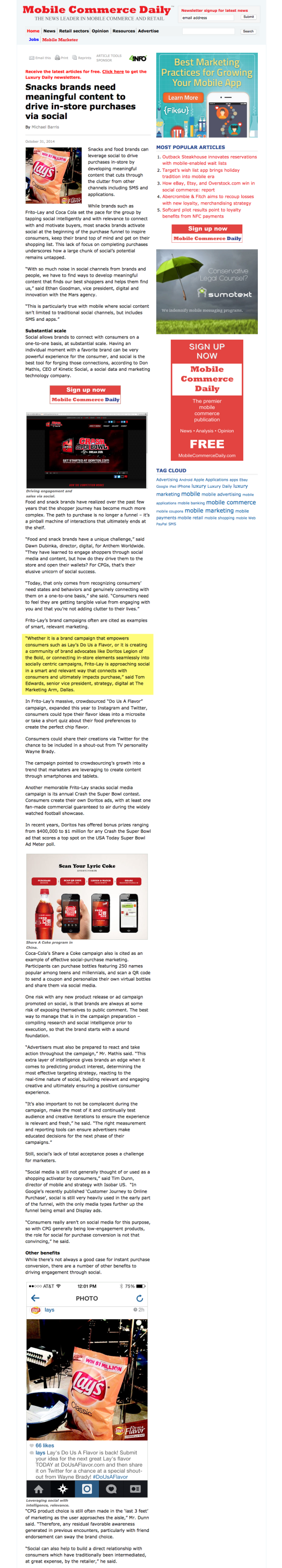 Snacks brands need meaningful content to drive in-store purchases via social - Mobile Marketer - Advertising 2014-11-09 21-34-09
