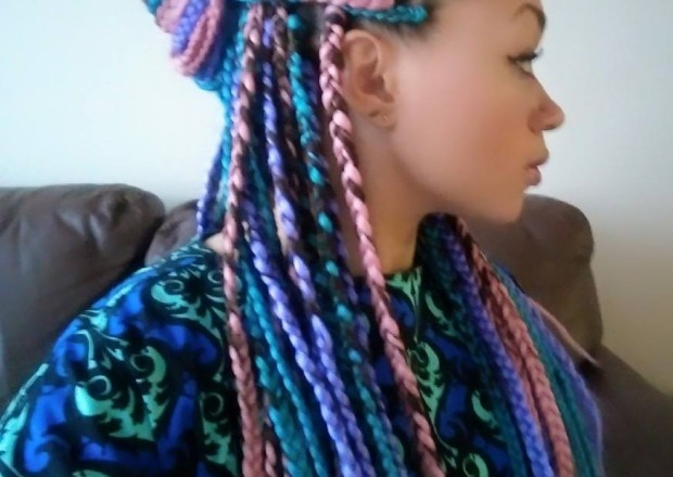 I Tried It Multi Colored Box Braids Black Girl With