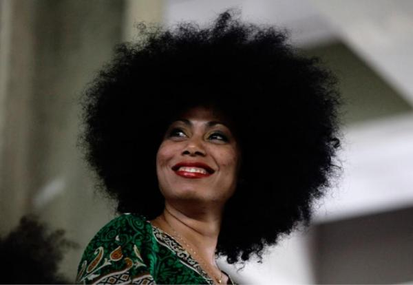 Runner-up contestant Yanely Salgado, 31, displays her hairdo on stage during an Afro hair contest in Havana, Saturday, June 13, 2015. (AP Photo/Desmond Boylan)