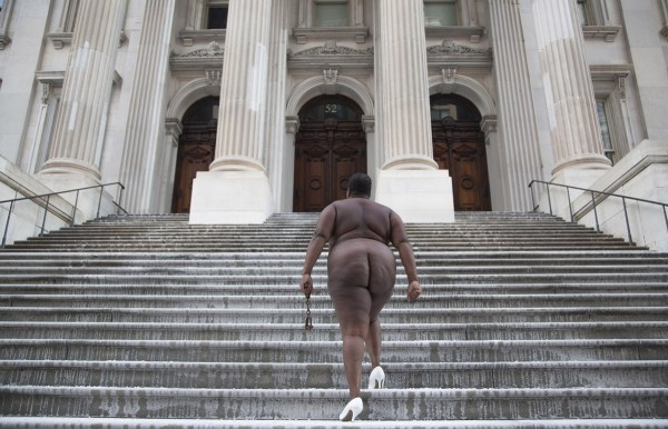 """Over My Dead Body"", New York City Hall from the White Shoes series, Copyright Nona Faustine"