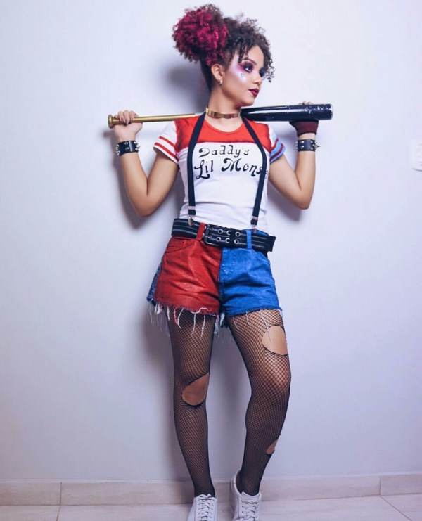 Harley quinn cosplay and black nylo
