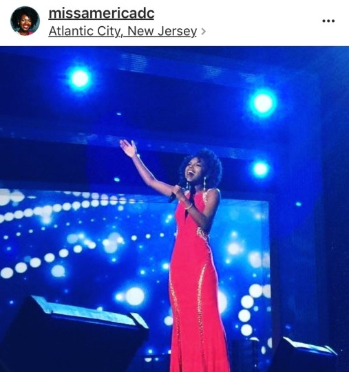 "Cierra Jackson singing ""Natural Woman"" during the talent portion of the Miss America Pageant."