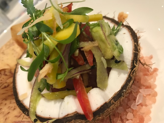 Poke with ahi tuna in a coconut shell