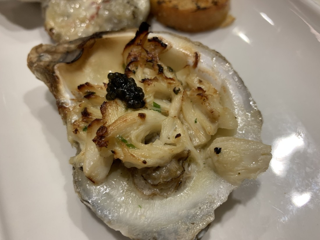 Oyster with crab and cavier