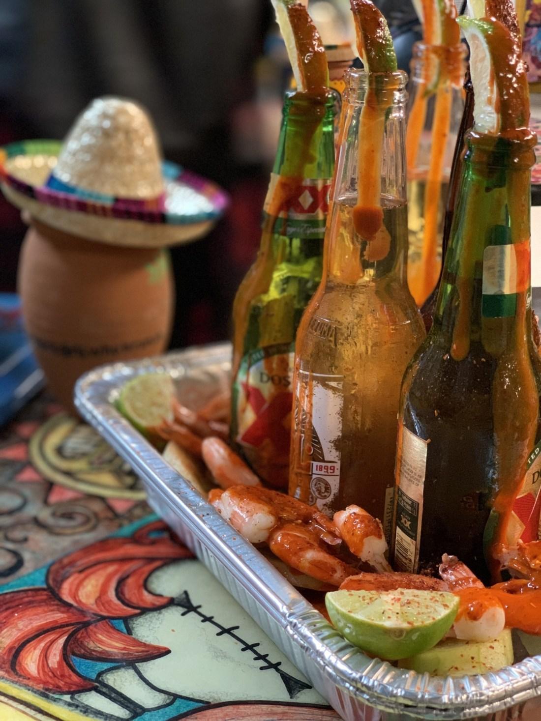 Shrimp and Beer Tray from Tacos La Bamba