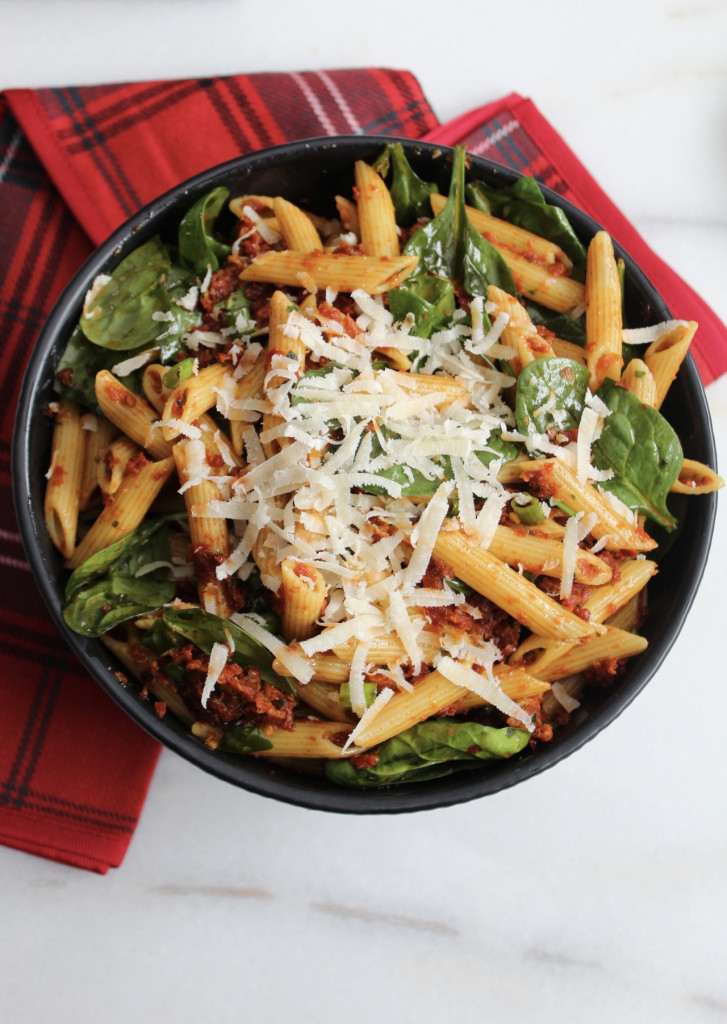 Bowl of Pasta with Spinach and red napkin